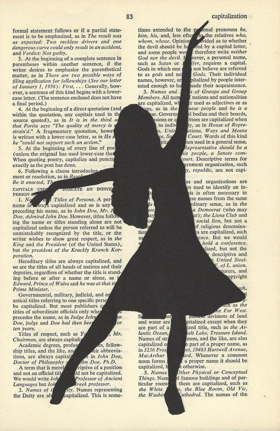 Fashion Silhouette Dancer Drawing on Vintage Paper by AronaDesigns,
