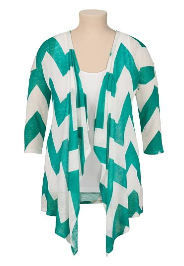 3/4 sleeve chevron plus size cardiwrap (original price, $34) available at #Maurices