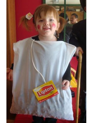 Seriously??? You're gonna make your kid a tea bag for Halloween?? Are you dressing your other child as a douche bag??