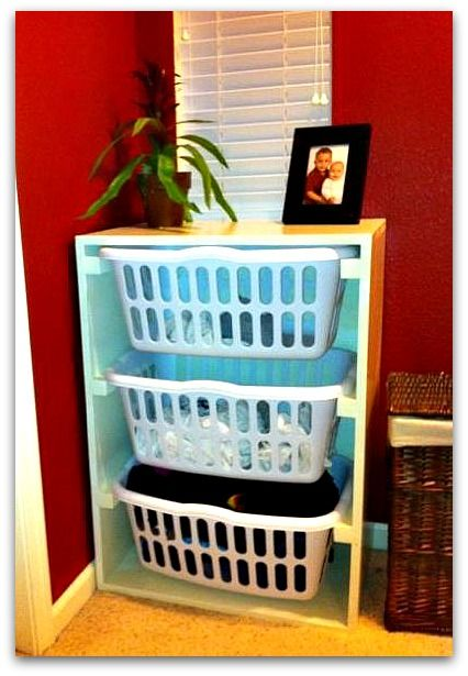 DIY laundry storage - in airing cupboard we could make something similar
