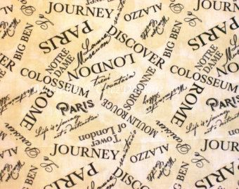 Cotton Fabric Quilt Quality Cloth - France, Italy, Britain, City Names, Paris, Rome, London, All Over Words - By The Yard or Half Yard