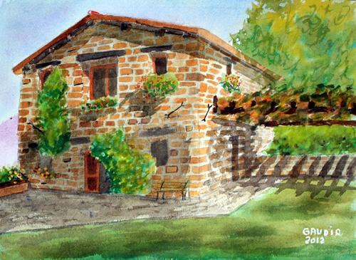 """© Gaudir13 """"Cottage au printemps"""" Aquarelle 35 x 28 cm"""
