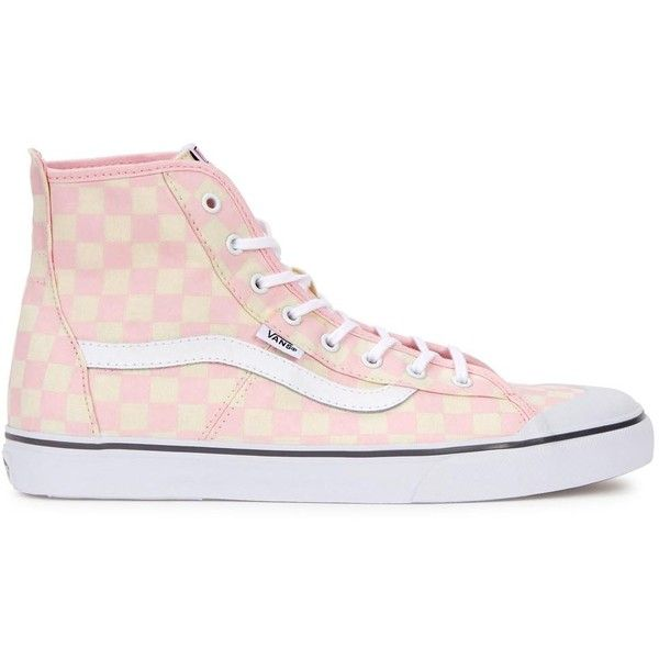 Womens Hi-Top Trainers Vans Daize-Hi Checkerboard Hi-top Trainers ($74) ❤ liked on Polyvore featuring shoes, sneakers, vans high tops, vans trainers, hi top canvas sneakers, high top canvas shoes and canvas high tops