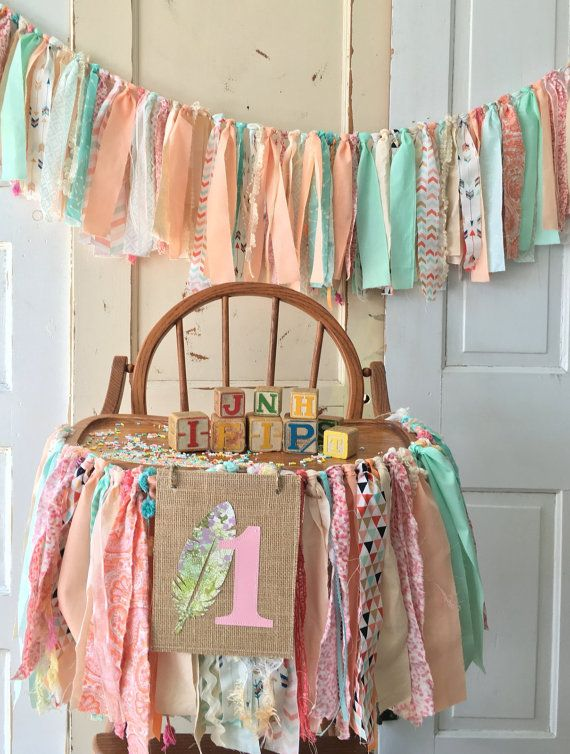 Coral and Mint Girls High chair Decoration.  Boho Baby High Chair Banner with Burlap Flag. Coral and Aqua First Birthday Decoration
