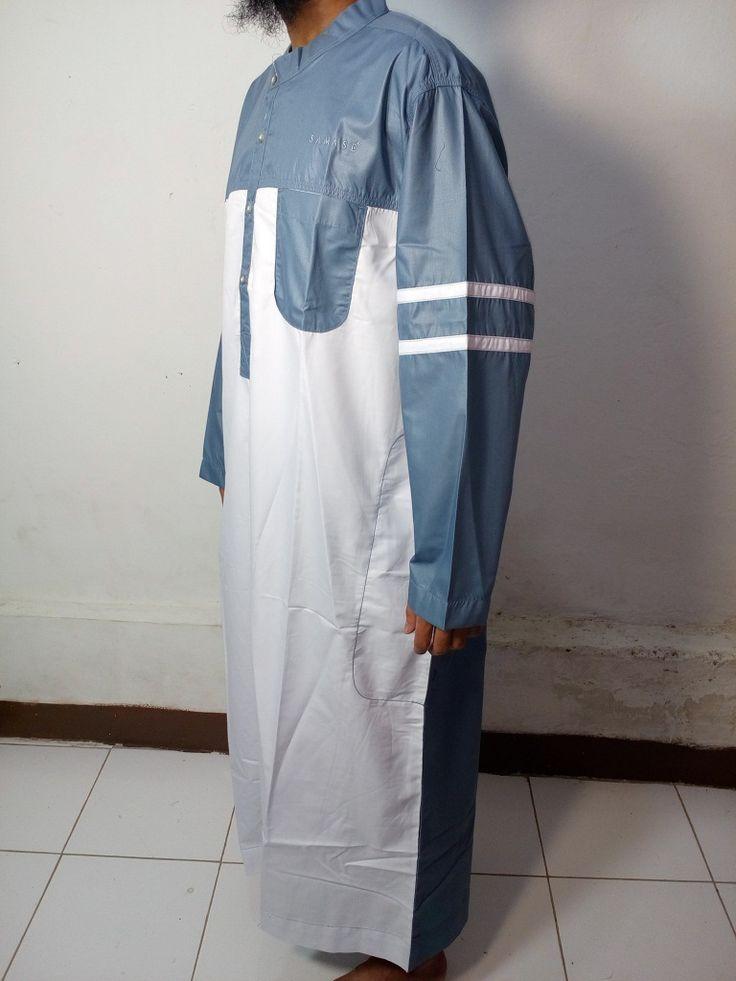 Baju Kurung Laki-Baju Gamis Atas Mata Kaki-Baju Jubah Pria Warna Putih-Abu Lengan Garis-Baju Muslim Samase
