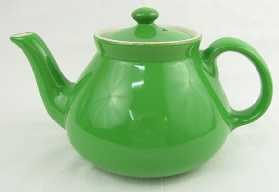 Vintage Hall Pottery China New York Teapot Emerald Green Art Deco