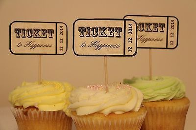 Custom Ticket To Happiness Cupcake Toppers