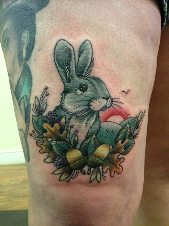 Forest Rabbit and Sunrise Thigh Tattoo By Lauren /no regrets studio