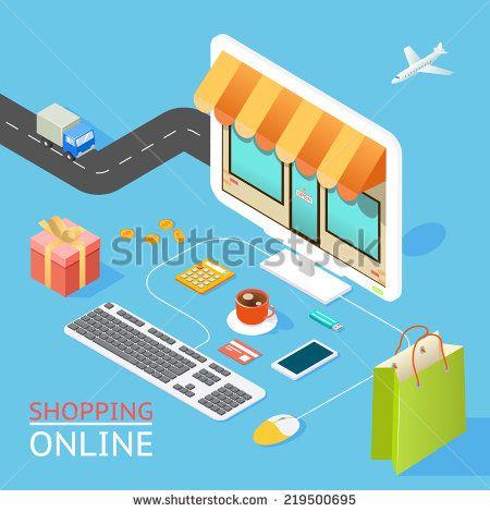 Vector concept of online shop in 3d flat design - stock vector