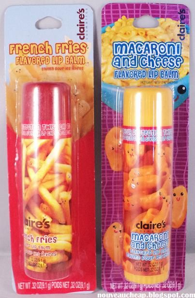 [I don't want to live on this planet anymore.] Claire's French Fries & Macaroni and Cheese Flavored Lip Balms