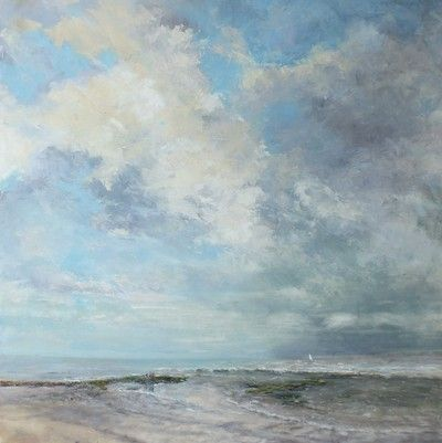 Exmouth on a changeable day 90cm x 90cm by Devon artist Julie Dunster