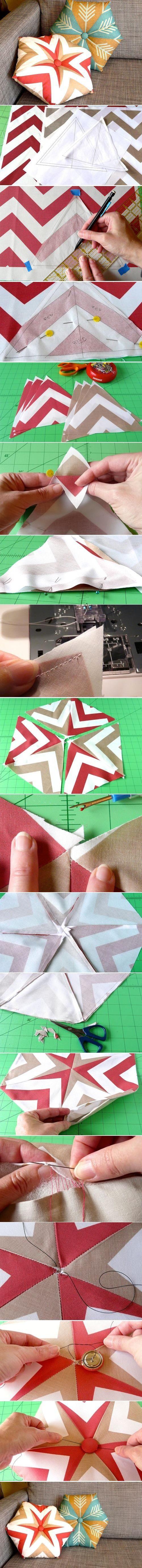 DIY Hexagonal tufted throw cushion by diyforever.  Add some spunk to the sofa.