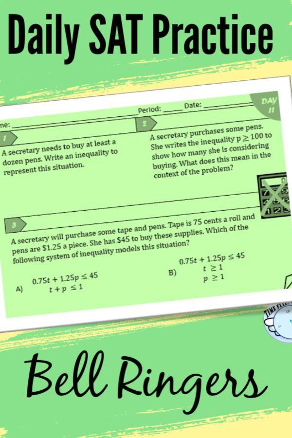 Sat Math Bell Ringers High School Math College Entrance Exam Interactive Student Notebooks