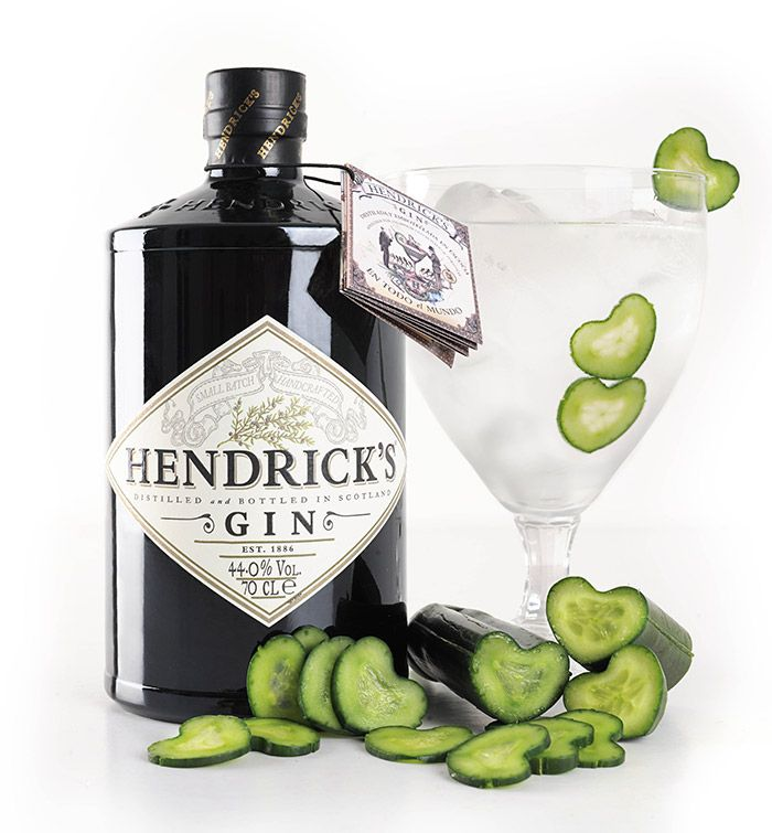 Hendrick's Gin with gherkin