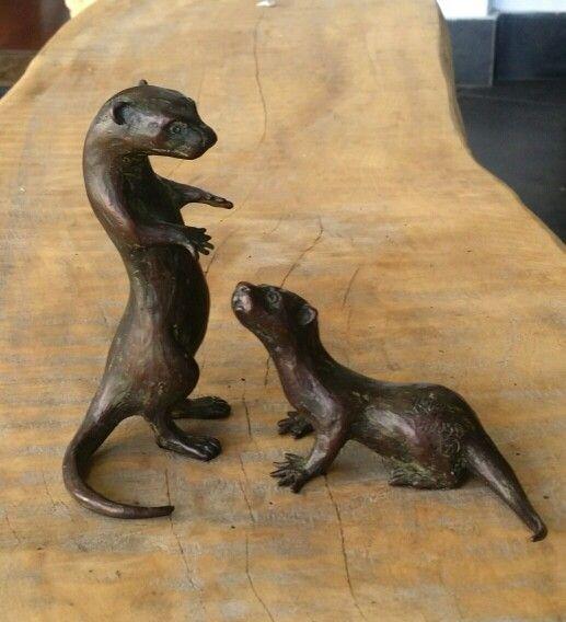 Otter maquette sculptures. 15cm Bronze edition of 150 by Malcolm Solomon