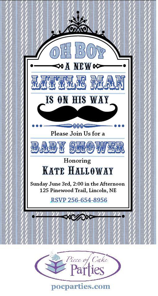 Mustache shower invitation