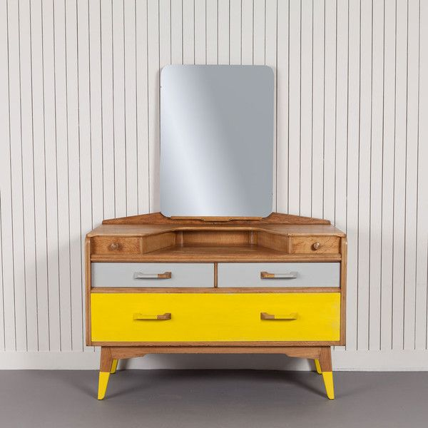 Eaton - £450.00 - This timeless piece of 1950s design has been partnered with yellow and grey dip painted handles and feet to enhance its classic retro look. The bold additions to this already iconic G-plan dresser ensure that it will remain a statement piece for many years to come. Product specification:W 147 x D 46 x H 114 cm30kg