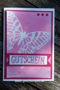 Masking & Misting Technik, Tutorial, Anleitung in Bildern, Stampin up, Schmetterling