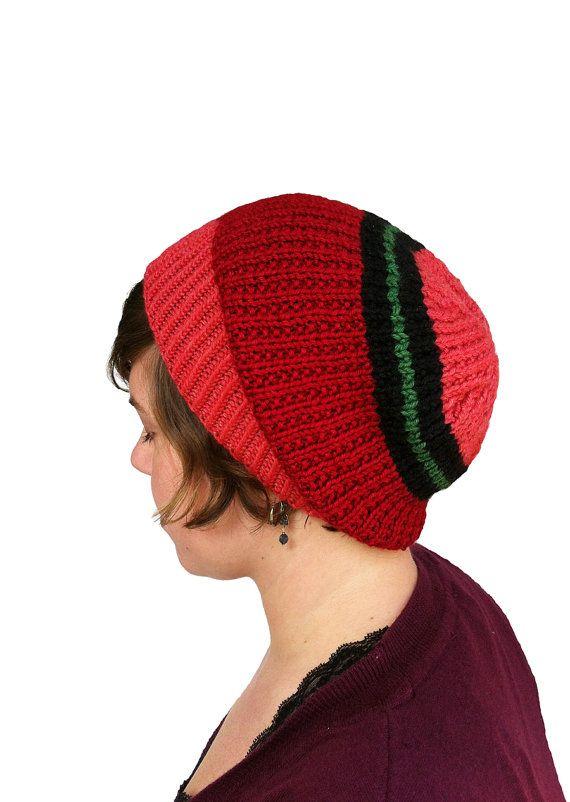 Hand Knit Slouch Hat Women Teen Handknit Beanie by LizSox on Etsy, $45.00