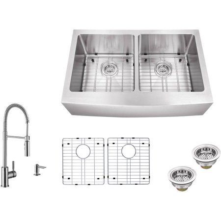Magnus Sinks 33 inch x 20 inch Stainless Steel Double Bowl Apron Front Farmhouse Kitchen Sink with Pull Out Kitchen Faucet and Soap Dispenser