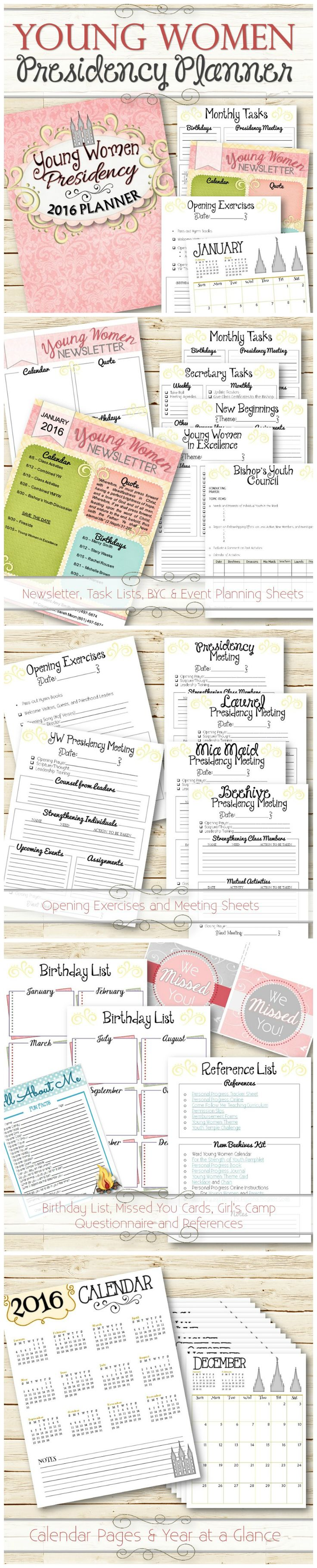 """A stylish way to make managing all the responsibilities and tasks in the LDS Young Women's Program simple and easy. The 2016 planner Includes 32 Pages (Measures 8.5""""x11"""") - Editable Newsletter - Presidency Monthly Tasks - Secretary Tasks - New Beginnings Planning Sheet - Young Women in Excellence Planning Sheet - and more! It's jam packed with tons of helpful resources to make this calling more simple and manageable. Click thru for freebies!"""