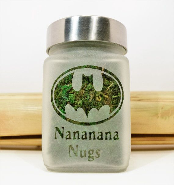 Retro Batman Etched Glass Stash Jar or Edibles Canister