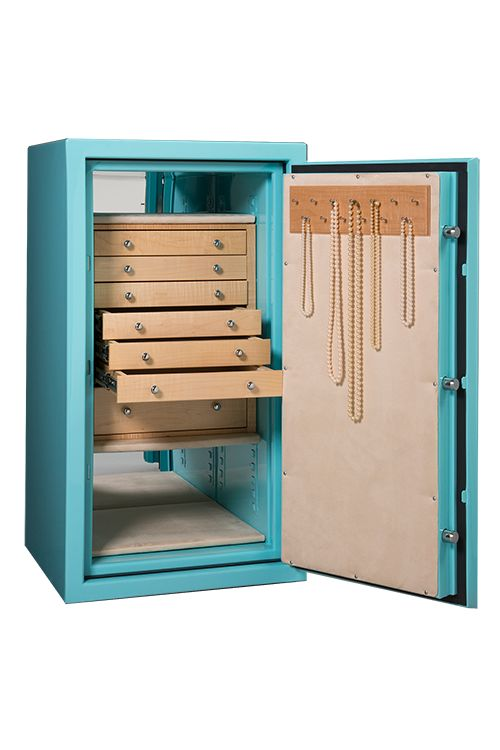 Large luxury jewelry safe with light wood drawers and necklace rack for  jewelry organization and security. Custom design your home safe to fit your  style ...