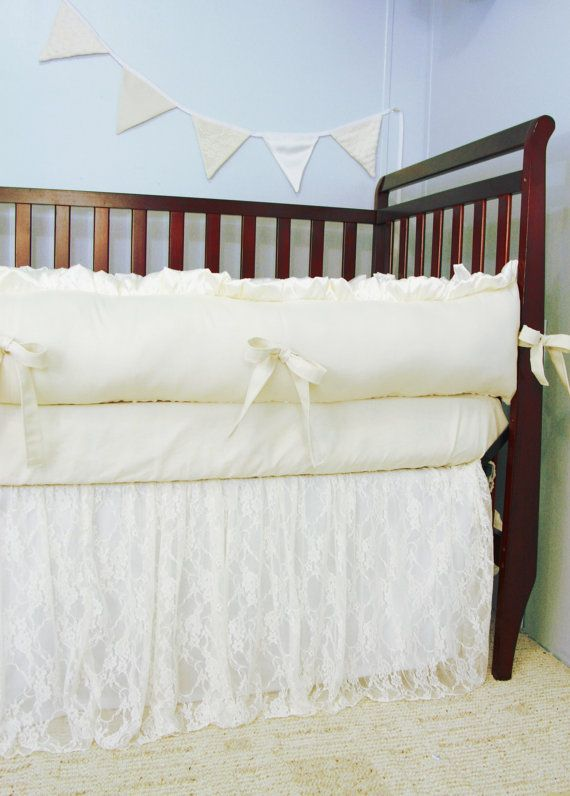"Ivory Lace ""Royal"" Baby Crib Bedding Set - Minky Backed Bumpers - Ruffled Lace Crib Skirt - Cotton Crib Sheet"