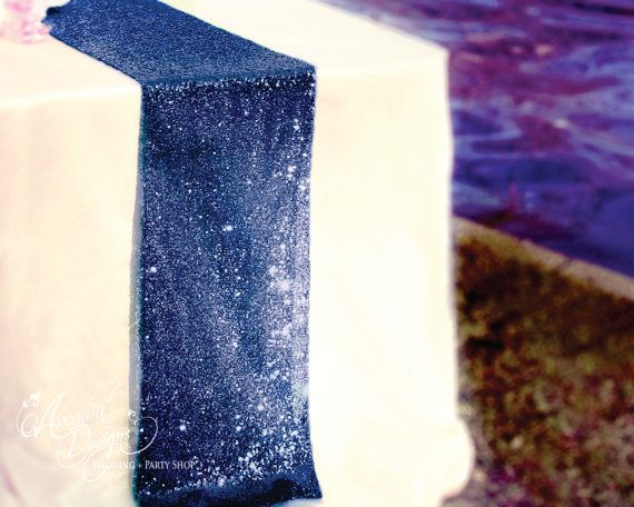 Navy Blue Sequin Table Runner Sparkly Metallic for Navy Wedding, Navy Blue theme events decoration by All4partytime