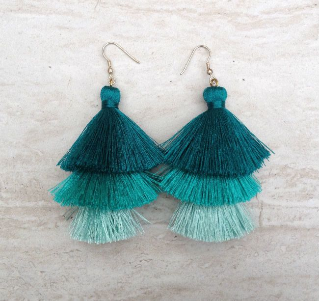 Silk Tassel Stack Earrings Teal Aqua Ombre Combo Tassle Earrings Festival Tassel Earrings Tassle Earings BOHO Earrings Wholesale Jewelry by midgetgems on Etsy