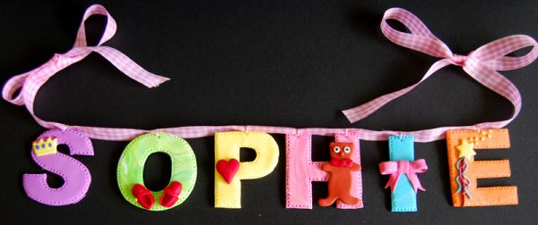 home decor from polymer clay, wall decor, signs, personalized, wall hangings, nursery decor, kids room decor, baby shower gift, nursery letters, handmade decoration, custom letters