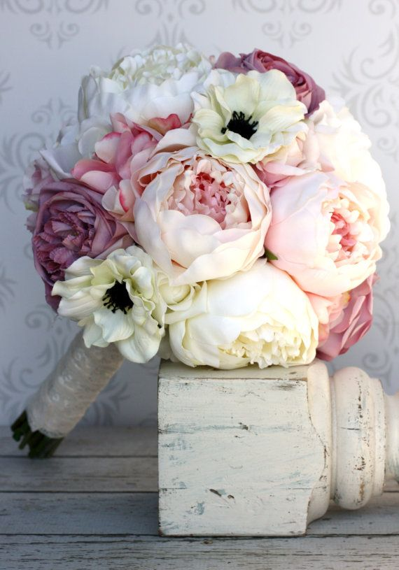 Prachtig bruidsboeket met #pioenrozen #peonies Silk Bride Bouquet Peony Flowers Pink Cream Purple by braggingbags, $99.00