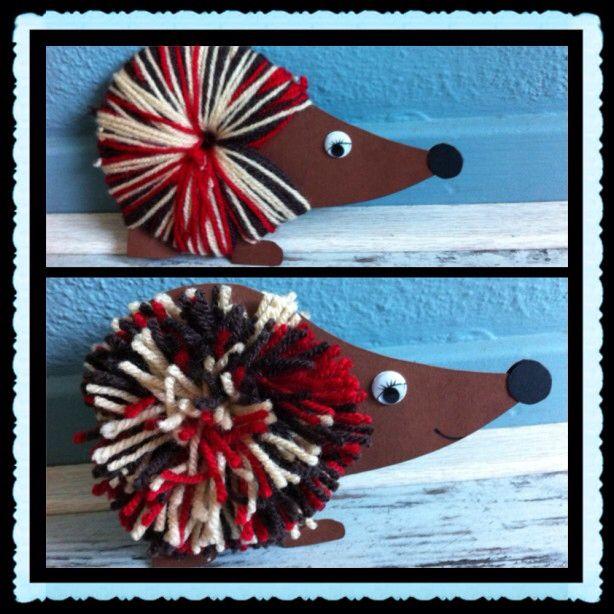 Pompom animal craft Egeltje