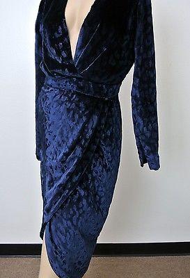 $3600 новый подлинный GUCCI взлетно-посадочная полоса бархата v-образный воротник надежном платье синий, 303943