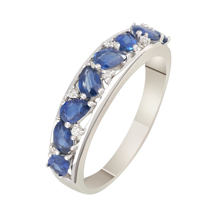 Артикул R13509SN  КольцоЖенское  Белоезолото, 585  Вставка:Сапфир синий  Стиль:Romantic,  Классика,Вечерний