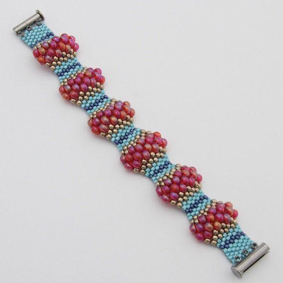Magenta Wavy Peyote Bracelet Peyote Stitch by BeadleBot on Etsy