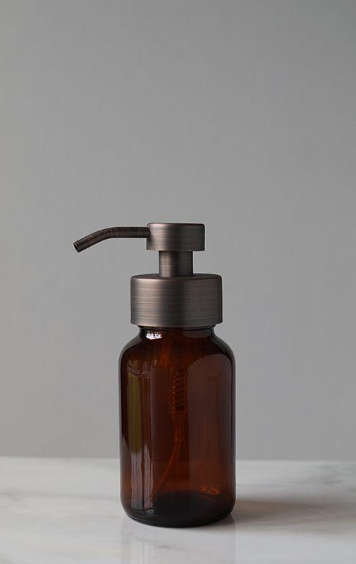 Amber Apothecary Glass Foam Soap Dispenser with Bronze Pump   RAIL19   Foaming Soap Dispensers Foaming Soap Glass Dispensers