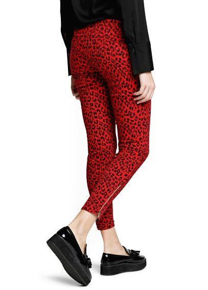 Slim-fit broek met luipaardprint