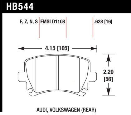 Hawk 2005-2010 VW Jetta/ 2006-2013 VW GTI/ 2000-2013 VW Golf/ 2007-2010 VW Eos/ 2009-2014 VW CC High Performance Street 5.0 Rear Brake Pads