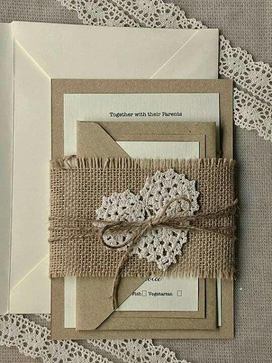 Hesian and crocheted heart invites