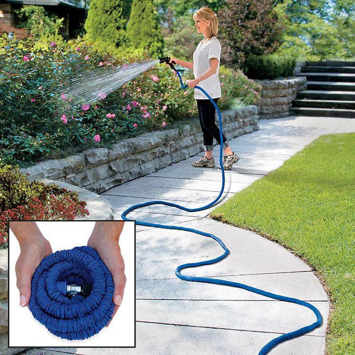 Expandable Garden Hose is lightweight, easy to use  easy to store. Available in 25ft-100-ft.: Xhose Expanded, Gardens Ideas, Gardens Hose, Expanded Hose, Automat Expanded, Xhose Automat, Lawn Gardens, Lawn Sprinkler, Expanded Gardens