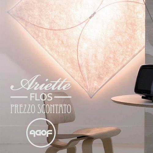 Ariette Flos a Prezzo scontato! design by Tobia Scarpa in 1973. Lampada da parete o soffitto a luce diffusa. Diffusore in tessuto sintetico. Attacco a muro in poliammide caricata con il 30% di fibra di vetro.