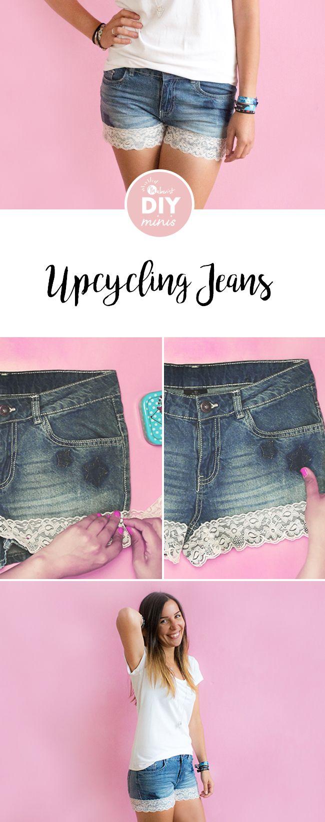Jeans Shorts mit Spitze verschönern - Upcycling-Anleitung via Makerist.de