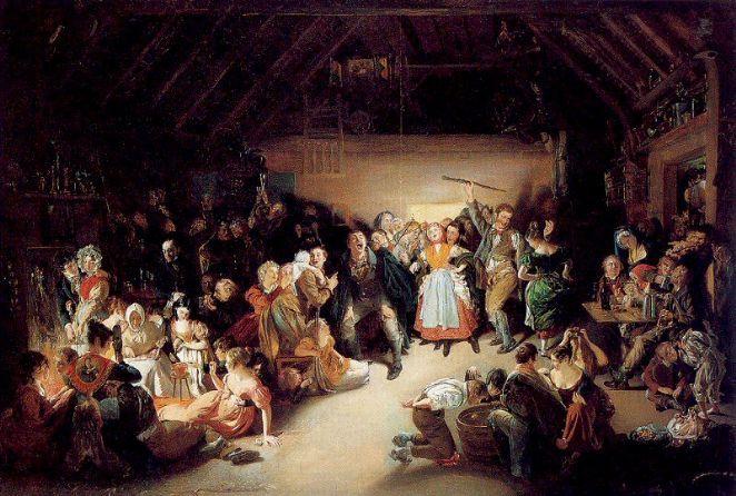Snap-a Apple Night (1833), pintado por Daniel Maclise, mostra pessoas reunidas se divertindo com jogos de adivinhação em 31 de outubro na Irlanda
