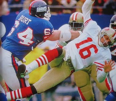New York Giants defeat the San Francisco 49ers (NFL Playoffs).  On January 4, 1987, the Giants destroyed the 49ers 49-3 at GIants Stadium.  The highlight of the game was Jim Burt hitting Joe Montana and the ball being intercepted and returned for a touchdown by Lawrence Taylor.  The win in the Giants run to their first Super Bowl victory. #NewYorkGiants