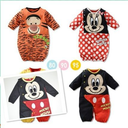 Free shipping new fashion 2014 cartoon baby romper,full sleeve baby costume outfit,girl boy jumpsuit,baby clothing mickey minnie $8.90 - 9.70
