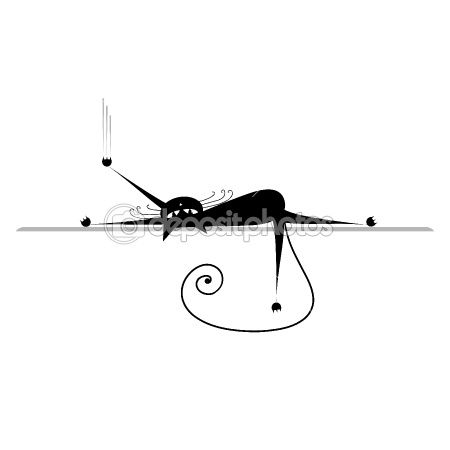 Relax. Black cat silhouette by Kudryashka - Stock Vector