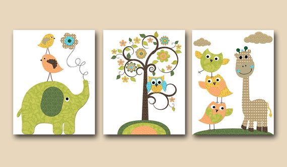 Owl Decor Owl Nursery Giraffe Nursery Elephant by artbynataera, $42.00