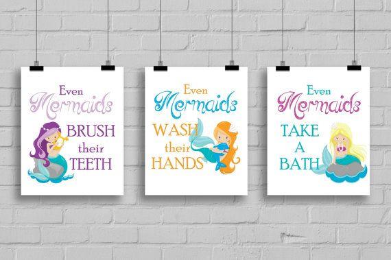 Mermaid Bathroom Decor Girls Bathroomv by SimplyLoveCreations