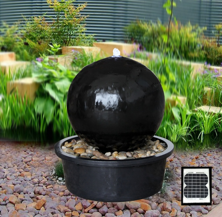 Solar Powered Black Ceramic Sphere Water Feature